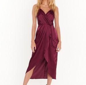 Nasty Gal Dresses Satin Wrap Ivory Dress Elegant Size 10